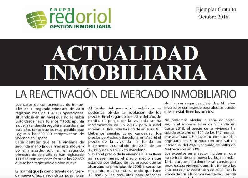 Revista de actualidad inmobiliaria de octubre de 2018